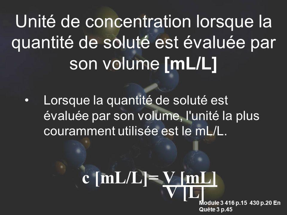 Unité de concentration lorsque la quantité de soluté est évaluée par son volume [mL/L]